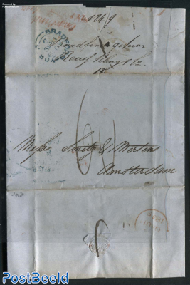 Folding letter from Bradford to Amsterdam