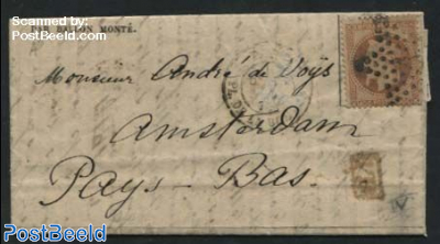 Letter from Paris to Amsterdam Par Ballon Monte (by Balloon flight), Siege of Paris