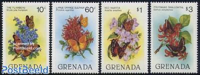 Butterflies & flowers 4v