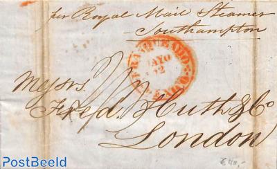 Folding letter to London (by Royal Mail Steamer Southampton)