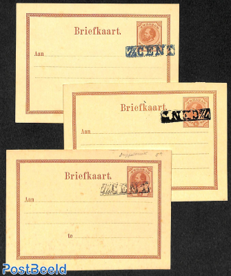 Lot of 3 postcards, overprint variations