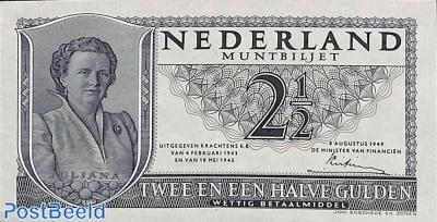 2.5 Gulden 1949 1 Digit 2 Letters 6 Digits