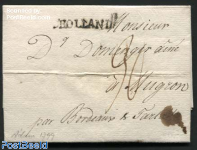 Letter from Amsterdam via Bordeaux to Mugron (F)