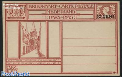 Postcard 10c on 12.5c, Deventer-De Bergkerk