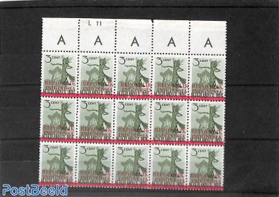 Overprint, sheetlet of 15 stamps