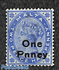 Overprint One Pnney (in stead of Penny) 1v