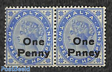 Pair, right stamp with error One Pnney [:]