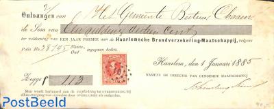 Recu Brandverzekering mij. with 10c stamp