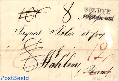 folding letter from Geneve to Wohlen