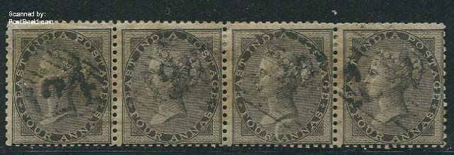 4A Black, without WM, used strip of 4 stamps