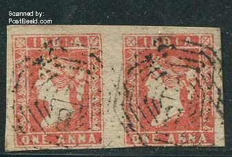 1p, Used pair of 2 stamps